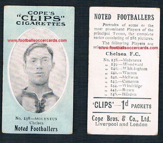 1908 Cope Brothers Noted Footballers 282 series Chelsea Molyneux 238